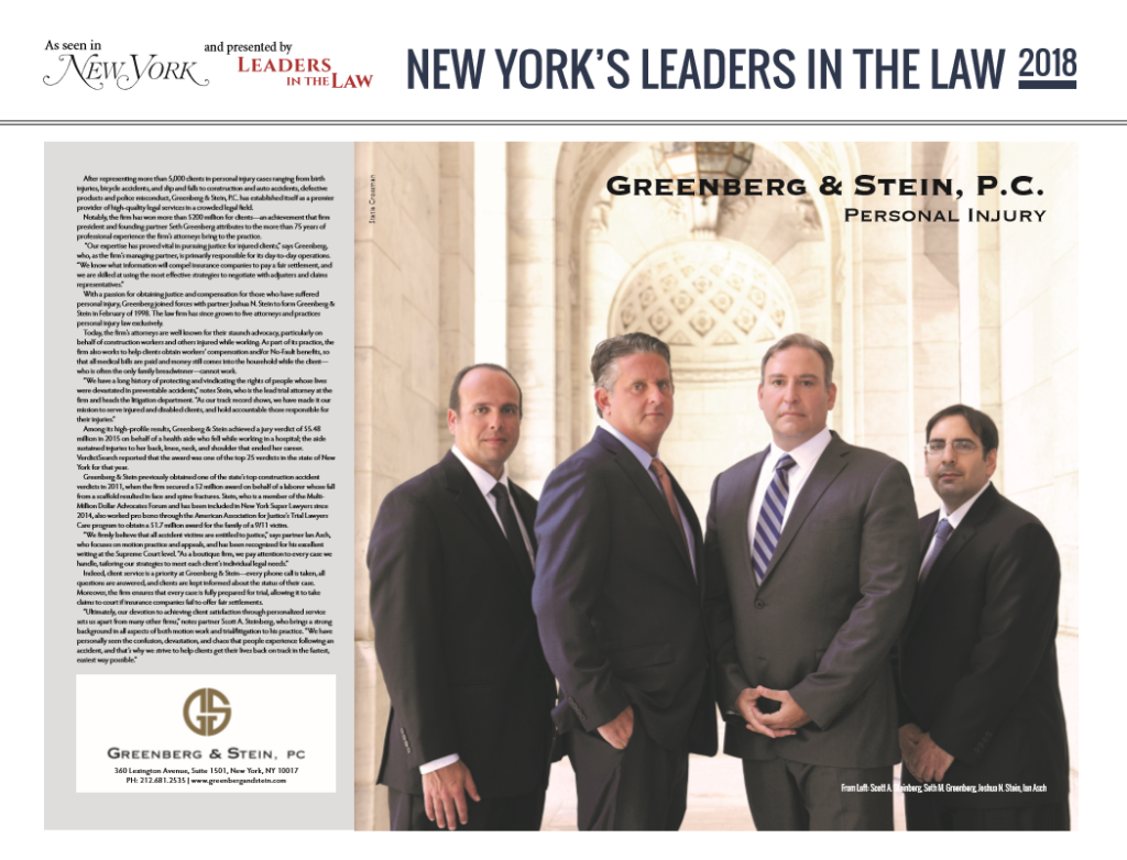 Greenberg & Stein was featured this week in New York Magazine as Leaders in the Law